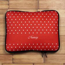 Custom Name Red Polka Dots iPad Sleeve