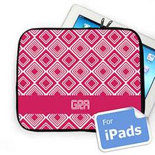 Custom Initials Hot Pink  Diamonds iPad Sleeve