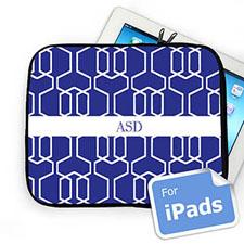 Custom Initials Blue Trellis iPad Sleeve