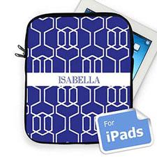 Custom Name Blue Trellis  iPad Sleeve