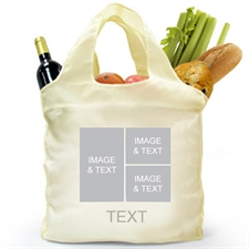 Custom Front and Back 3 Collage Reusable Shopping Bag, Modern