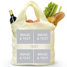 Custom Front and Back 4 Collage Reusable Shopping Bag, Snapshots