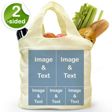 Personalized Both Sides 5 Collage Reusable Shopping Bag, Classic