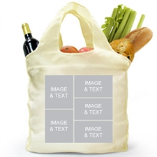 Customize 2 Sides 5 Collage Reusable Shopping Bag, Elegant