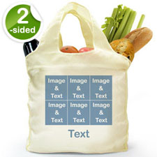 Custom 2 Sides 6 Collage Reusable Shopping Bag, Modern