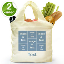 Personalized Both Sides 6 Collage Reusable Shopping Bag, Elegant