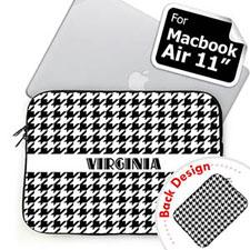 Custom 2 Sides Personalized Name Black Houndstooth MacBook Air 11 Sleeve