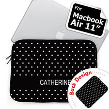 Custom Front and Back Personalized Name Black Polka Dots MacBook Air 11 Sleeve
