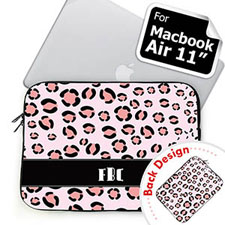 Custom 2 Sides Personalized Initials Pink Leopard Pattern MacBook Air 11 Sleeve
