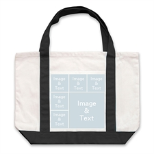 Six Square Collage Tote, Black