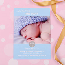 Elegant Cross – Spa Baptism Photo Invitation