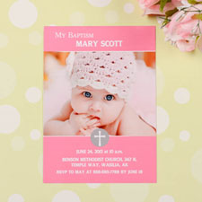 Elegant Cross – Princess Baptism Photo Invitation