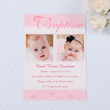 Fashionable Fonts – Soft Pink Baptism Photo Invitation