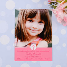 Christening Cross – Rose Communication Photo Invitation