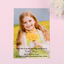Christening Cross Communication Photo Invitation