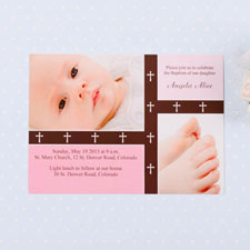 Crossing Bands – Tea Rose Baptism Collage Invitation