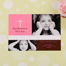 Pink Cross Collage Communication Invitation
