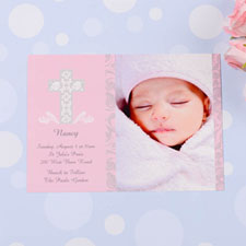 Framed Cross Girl Baptism Photo Invitation