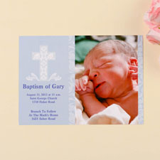 Blessed Baby Blue Baptism Photo Invitation