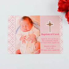 Blessed Baby Pink Baptism Photo Invitation