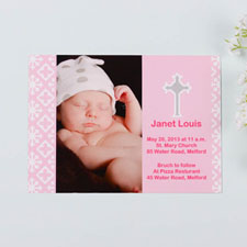 Faithfully Pink Baptism Photo Invitation