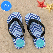 Design My Own Blue Zigzag Personalized Monogrammed, Kids Medium Flip Flops