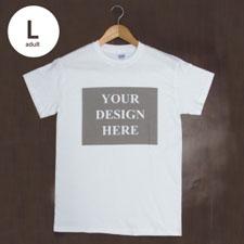 Custom Print Cotton White Landscape Image Adult Large T Shirt