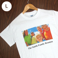 Custom Print Cotton White Image & Text Adult Large T Shirt
