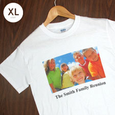 Custom Printed Cotton White Image & Text Adult Extra Large T Shirt