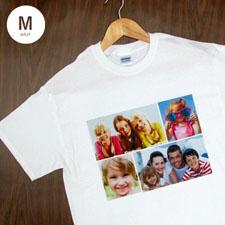 Personalized Gildan 100% Cotton  (White – Four Collage), Adult Medium