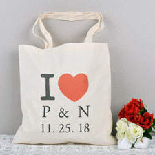 Personalized Heart I Heart Budget Tote Canvas Bag