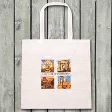 Four Photo Collage Budget Tote Canvas Bag