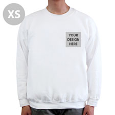Custom Printed White Sweatshirt, XS