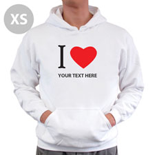 Personalized Personalized I Love (Heart) White Xs Hoodie