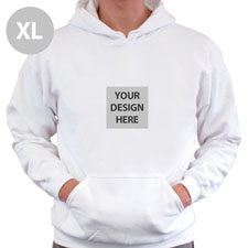 Mini Square Image Custom Hoodie With Kangaroo Pouch White Extra Large Size