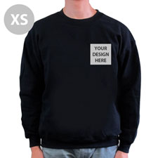 Custom Printed Black Sweatshirt, XS
