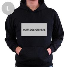 Custom Landscape Image & Text Black Without Zipper Large Size Hoodies