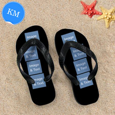 Design My Own Black Eight Collage Kids Medium Flip Flops