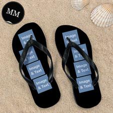 Design My Own Black Eight Collage Men Medium Flip Flop Sandals