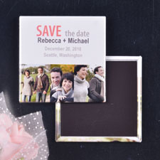 Pink & Grey 3 Collage Save the Date