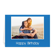 Classic Blue Photo Birthday Cards, 5x7 Folded
