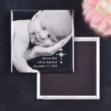 Blue Simple Cross Design Baptism Magnet