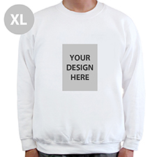 Portrait Image Personalized White Sweatshirt, XL