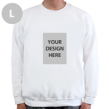 Custom Portrait Image Personalized White Sweatshirt, L