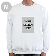 Custom Portrait Image Personalized White Sweatshirt, M