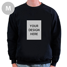 Custom Portrait Image Personalized Black Sweatshirt, M