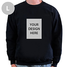 Custom Portrait Image Personalized Black Sweatshirt, L