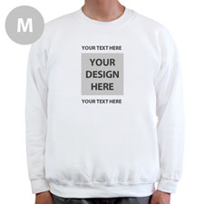 Design Your Own Image & Two Text Lines White M Sweatshirt
