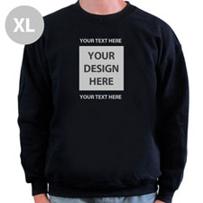 Create Your Own Image & Two Text Lines Black Xl Sweatshirt