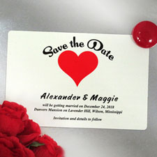 Red Heart Love Personalized Save The Date Photo Magnets